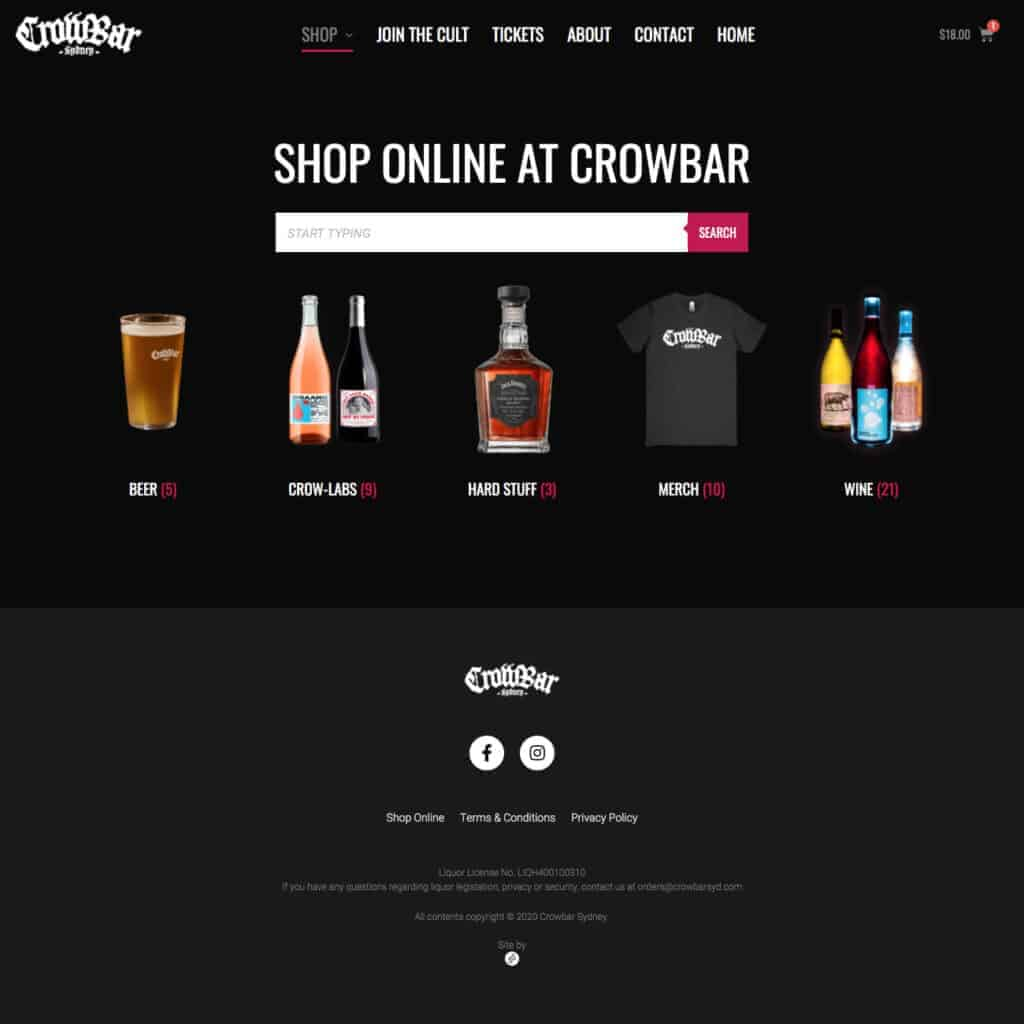Crowbar Sydney online alcohol shop